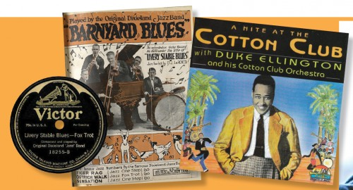 "L to R: First pressing of ""Livery Stable Blues"" by ODJB, 1917; sheet music for the ODJB version under the alternate title ""Barnyard Blues"", from 1917, and a 1998 ""Giants of Jazz"" re-release of Ellington's 1929 recording."