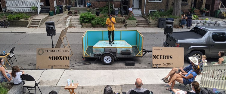 Asitha Tennekoon performing at a 'Box Concert'. Photo credit: Dahlia Katz.