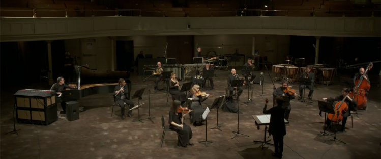 The Nouvel Ensemble Moderne performing the premiere of Devaux's work Arras, live-streamed by the Azrieli Foundation on October 22, 2020.
