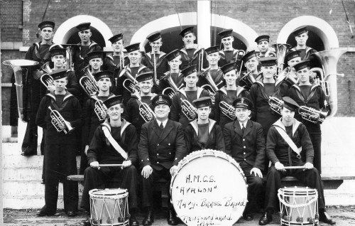 Not the missing 1943 HMCS Hunter Naval Reserve Band photo, but the 1942 HMCS Avalon Brass Band out of Newfoundland is book-ended with a pair of sousaphones too! Some of those young men are clearly too young to shave!